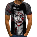 2020 Mens horror T shirts Fashion New Summer Men's Short Sleeve T-shirt Casual 3D Zombie Print Rock Tshirt For Man Full Printed - Shopgoggles