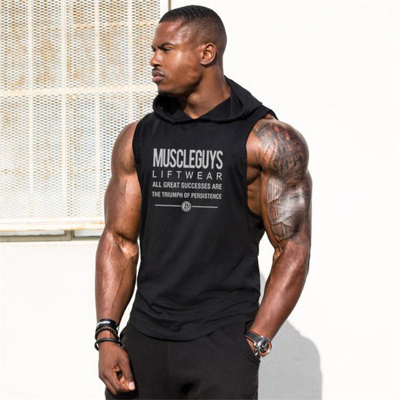 Muscleguys Liftwear Sleeveless Shirt with hoody Brand gyms Clothing Fitness Men Bodybuilding stringer tank tops Hoodies singlets - Shopgoggles