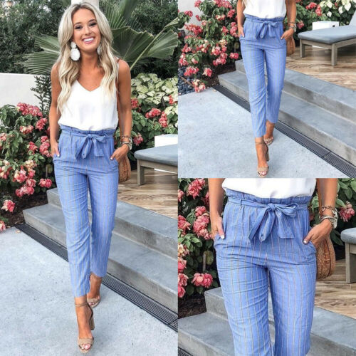 New Fashion Hot Sale Women's Blue Striped High-waist Lace-up Ankle-length Slim Pants Office Lady Summer Casual Clothing S-XL - Shopgoggles