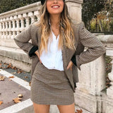 Women plaid Suit Casual Blazer High Waist Skirt Office Lady Notched Jacket Skirt Suits Europe Femme 2 pieces set - Shopgoggles