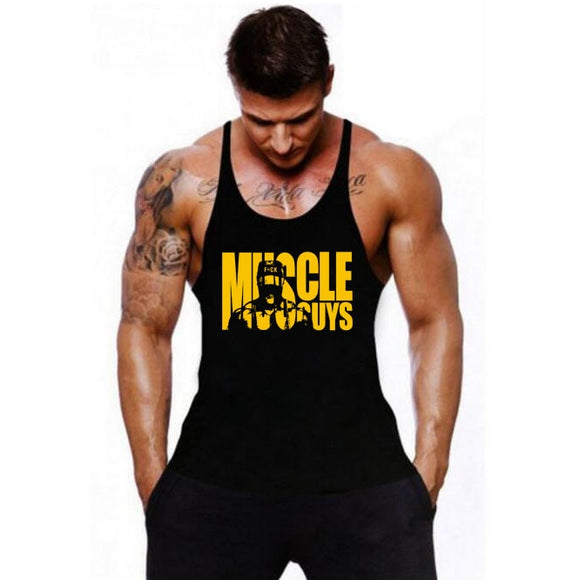 Muscleguys Cotton Gyms Tank Tops Men Sleeveless Tanktops For Boys Bodybuilding Clothing Undershirt Fitness Stringer Vest - Shopgoggles