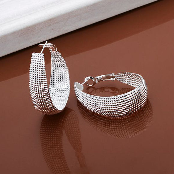Wholesale High Quality Jewelry 925 jewelry silver plated Flat U web Earrings for Women best gift SMTE064 - Shopgoggles