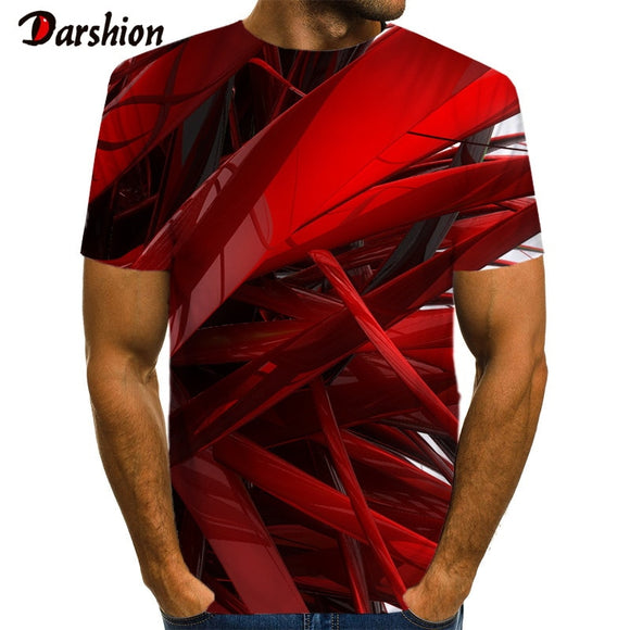 3D Geometric Stripe Red Pattern Print  Men 3d T-shirt Black Tee Casual Top Anime Camiseta Streatwear Short Sleeve Cloth size 6xl - Shopgoggles