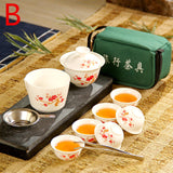 ANCHENG Set Chinese Travel Kung Fu Tea Set Ceramic Portable Teacup Porcelain Service Gaiwan Tea Cups Mug of Tea Ceremony Teapot - Shopgoggles