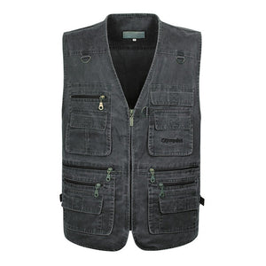 5XL 6XL 7XL New Male Casual Summer Big Size Cotton Sleeveless Vest With Many 16 Pockets Men Multi Pocket Photograph Waistcoat - Shopgoggles