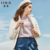 SEMIR 2019 Down Winter Jacket Women Cotton Short Jackets New Down Padded Hooded Warm Autumn Slim Coat Female Casual Tops - Shopgoggles