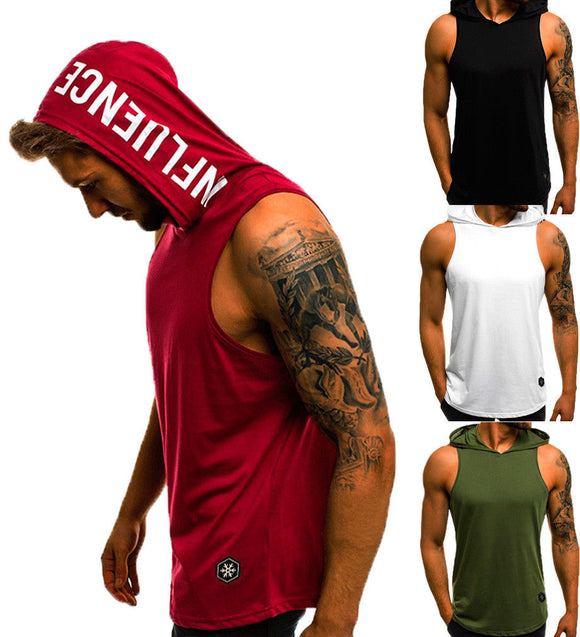 Men Hoodies Tank Top Sleeveless Muscle Gym Sport Slim Vest Bodybuilding Hooded Hip Hop Streetwear Workout Elastic Men Tank Top - Shopgoggles