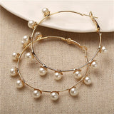 Simple Plain Gold Color Metal Pearl Hoop Earrings Fashion Big Circle Hoops Statement Earrings for Women Party Jewelry - Shopgoggles