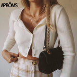 Aproms Candy Color Ribbed Knitted Cardigan Women Autumn Winter Long Sleeve Basic Cropped Sweaters Female Casual Short Jumper Top - Shopgoggles