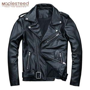 MAPLESTEED Classical Motocycle Jackets Men Leather Jacket 100% Natural Calf Skin Thick Moto Jacket Man Biker Coat Winter M192 - Shopgoggles