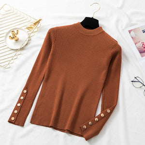 Women's Long Sleeve Knitted Turtleneck Casual Cashmere Sweater - Shopgoggles
