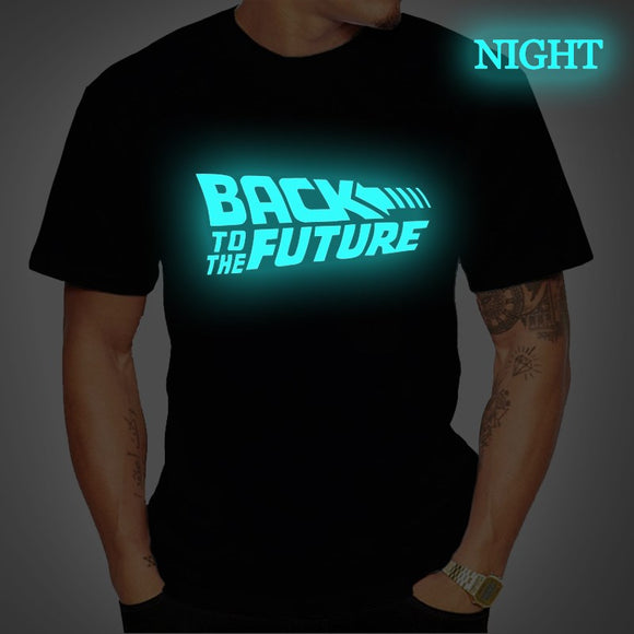 Back To The Future Tshirt Luminous T Shirt camiseta Summer Short Sleeve T Shirts back to future Tee Tops Streetwear T-shirts 4XL - Shopgoggles