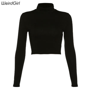 weirdgirl womon cotton hollow out sexy tshirt bandage backless long sleeve tops Harajuku slim bodycon streetwear knitted tees - Shopgoggles