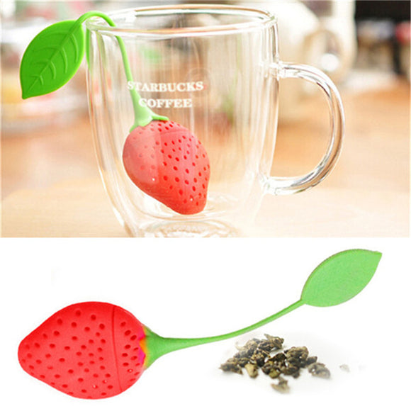 Cute Strawberry Tea Strainer Tea Bags Silicone loose-leaf Tea Infuser Filter Diffuser Fun Cartoon Tea Accessories 301-0321 - Shopgoggles