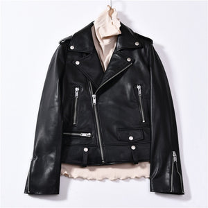 Spring Genuine Leather Jacket Women 2019 Fashion Real Sheepskin Coat Rivet Motorcycle Biker Jacket Female Sheep Leather Coat - Shopgoggles