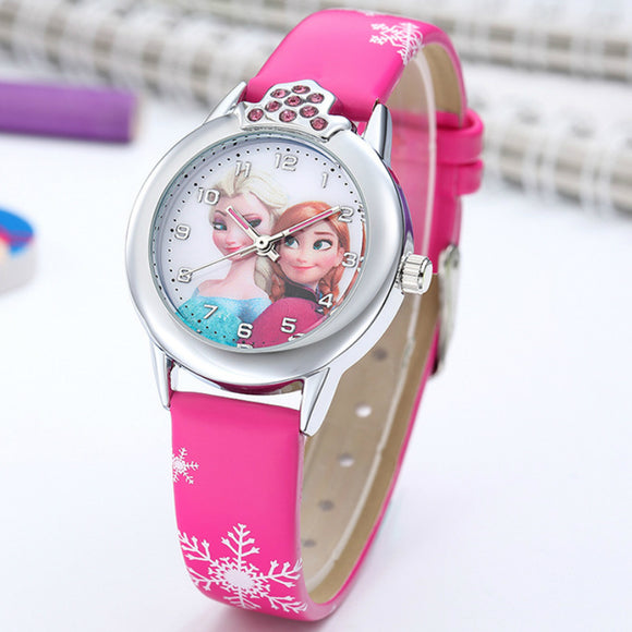 Elsa Watch Girls Elsa Princess Kids Watches Leather Strap Cute Children's Cartoon Wristwatches Gifts for Kids Girl - Shopgoggles