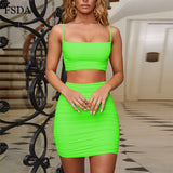FSDA Ruched Neon Green Backless Dress Two Piece Set Club Outfit Women Spaghetti Strap Crop Top And Mini Skirt Sexy Summer - Shopgoggles