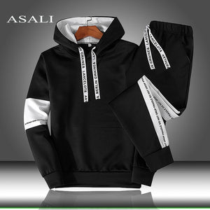 Sets Tracksuit Men Autumn Winter Hooded Sweatshirt Drawstring Outfit Sportswear 2019 Male Suit Pullover Two Piece Set Casual - Shopgoggles
