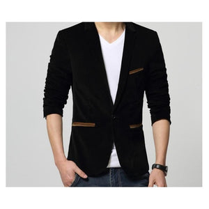 Brand Mens Corduroy Blazers Autumn Spring Fashion Male Slim Fat Casual Suit Jacket Men Blazer Masculino Clothing Vetement Homme - Shopgoggles