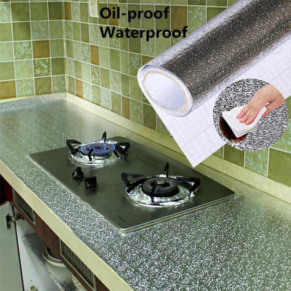 40x100cm Kitchen Oil-proof Waterproof Stickers Aluminum Foil Kitchen Stove Cabinet Self Adhesive Wall Sticker DIY Wallpaper - Shopgoggles