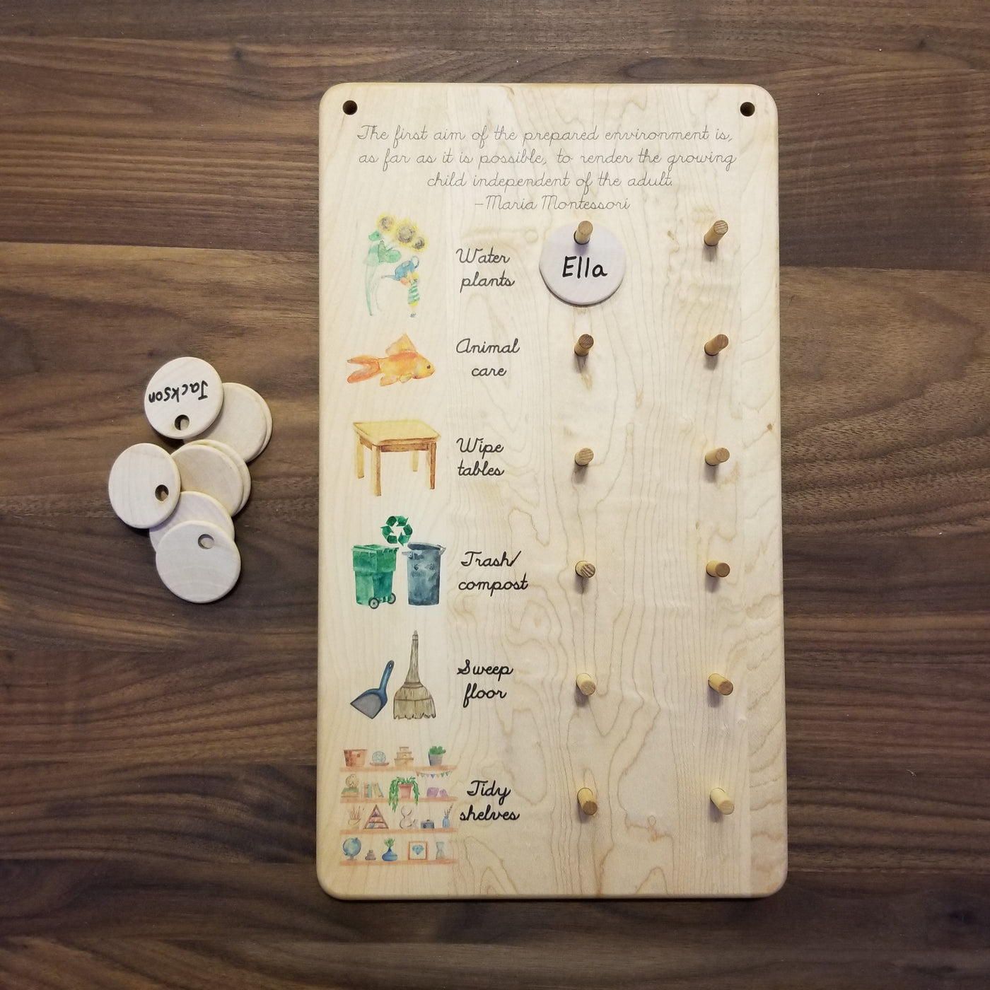 Montessori chore chart - classroom job chart - care of environment chart
