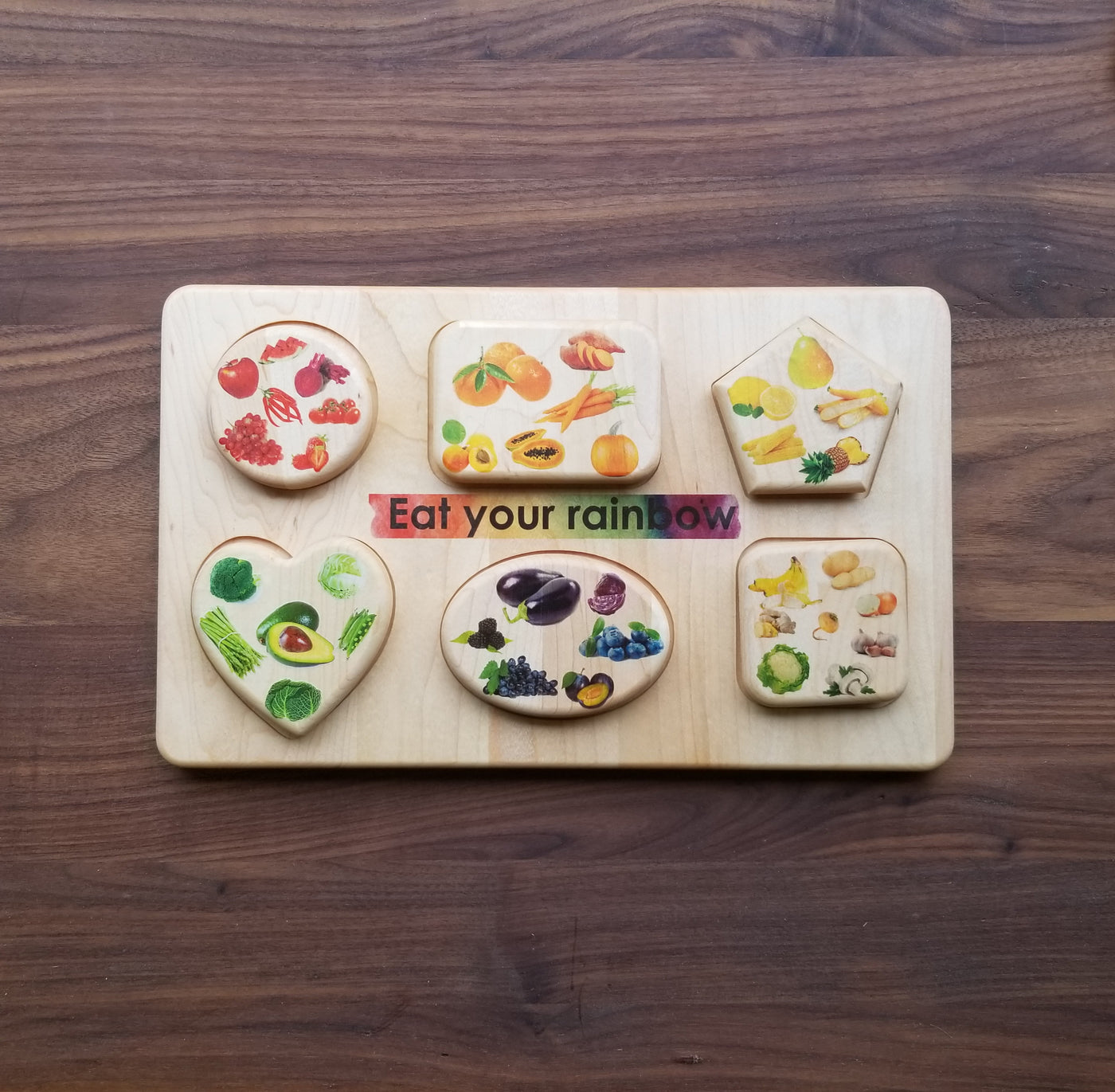 Eat your rainbow wooden puzzle - healthy eating puzzle - eat your veggies - healthy eating - Montessori materials - practical life