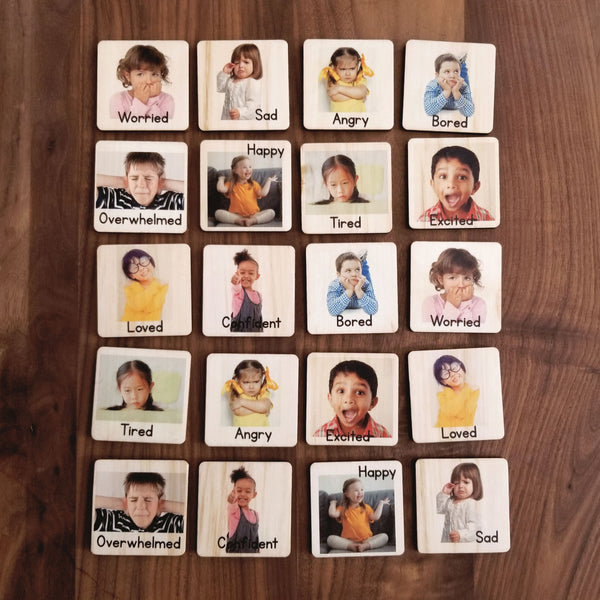 Emotion tiles - Montessori classroom - Montessori materials - emotional development