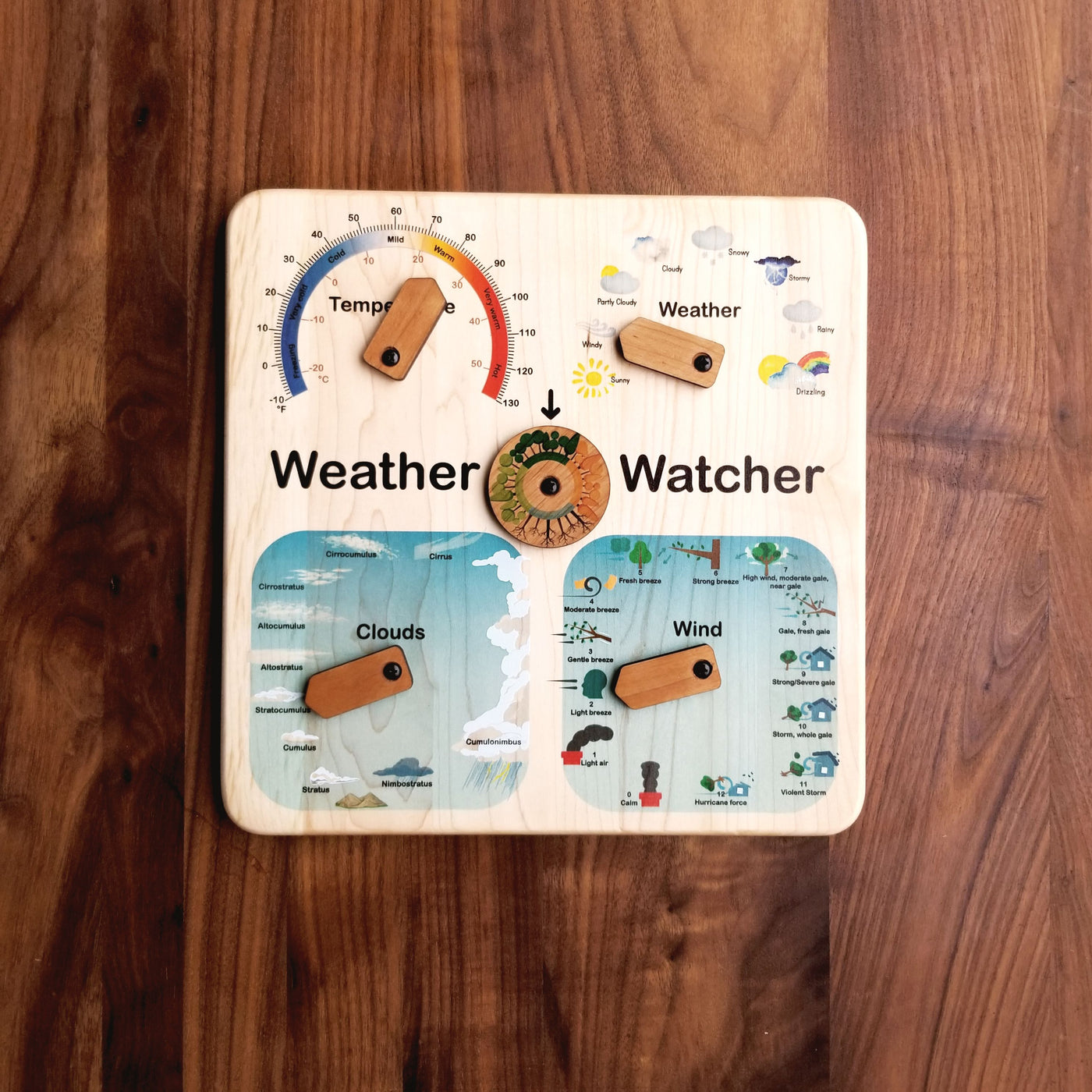 Wooden weather calendar - weather chart