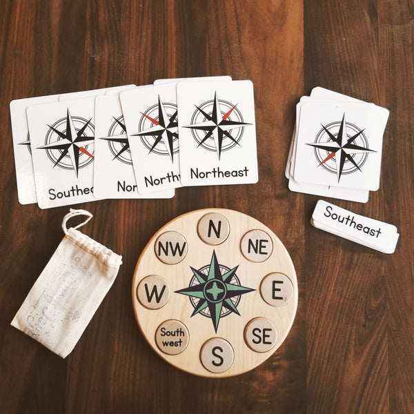 Compass rose puzzle - cardinal directions Montessori activity