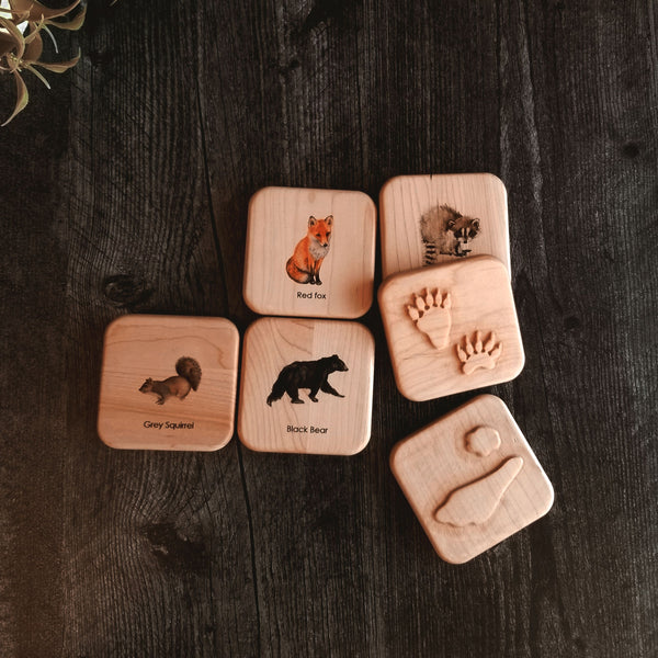 Nature Toys Animal tracks play dough stampers - animal track stamps - animal tracks study - wooden playdough moulds - wooden toys - slime - Montessori