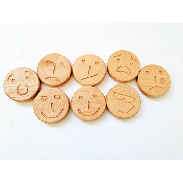 Emotion stones - Wooden emoticon discs - Emoticon faces - autism - sensory toys - tactile emotions - Christmas gift - stocking stuffers