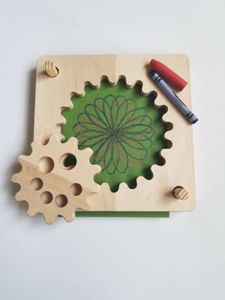 Wooden spirograph, toddler spiral drawing kit