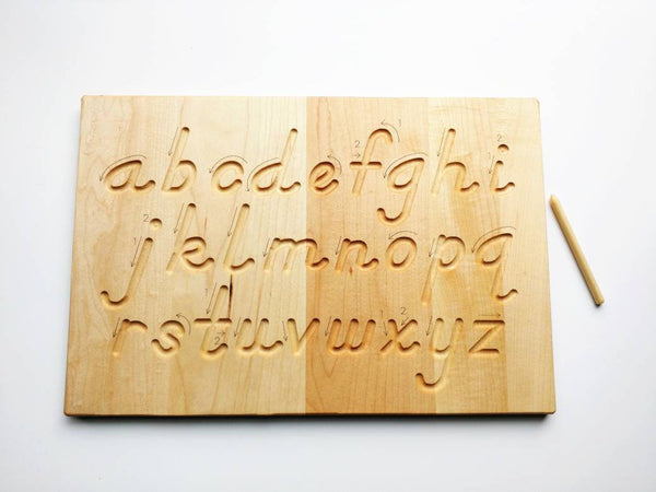 Alphabet tracing board, Natural wood, D'Nealian font alphabet tracing with guided arrows, educational toys