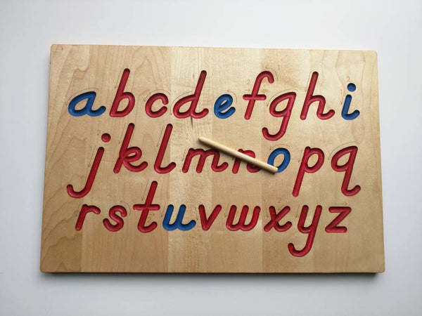 Alphabet Tracing board, Montessori colors, D'Nealian font with guided arrows, wood alphabet tracing board