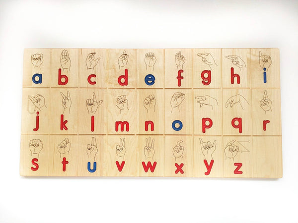 Wooden Sign language board - ASL board in Montessori colors - educational toys - back to school