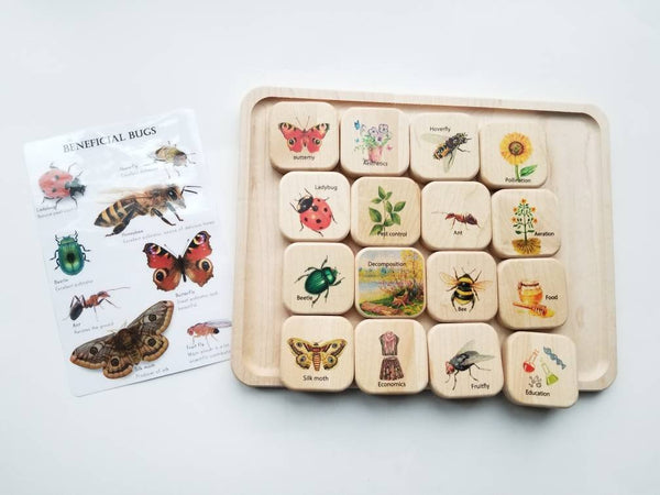 Wooden memory puzzle, beneficial bugs, wooden puzzle, educational toys, montessori