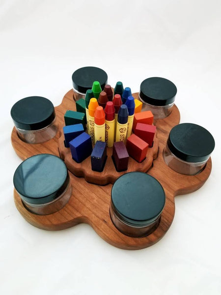 Lazy Susan crayon and paint jar holder
