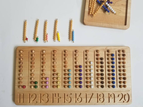 Teen board - 11-20 Number counting board- Number tracing board - Montessori