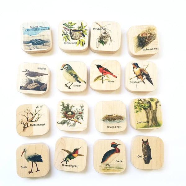Wooden memory puzzle - Montessori toys - bird nest puzzle - wooden toys