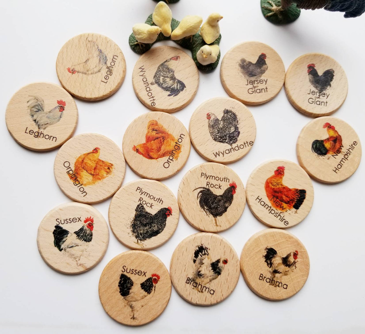 Wooden memory game - chicken breed hen rooster match