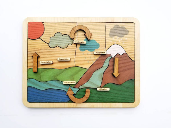 Water cycle puzzle, wooden puzzle, Earth day