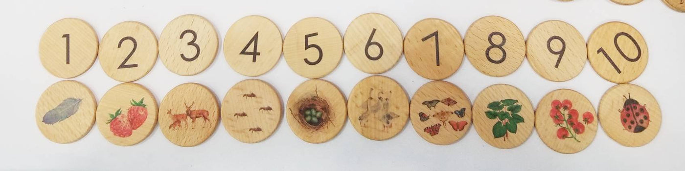 Wooden memory puzzle - number matching game - counting game - nature numbers - travel game - portal game - learn to count - wooden games