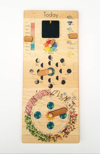Wooden perpetual calendar with seasons, moon phases, months, days and weather