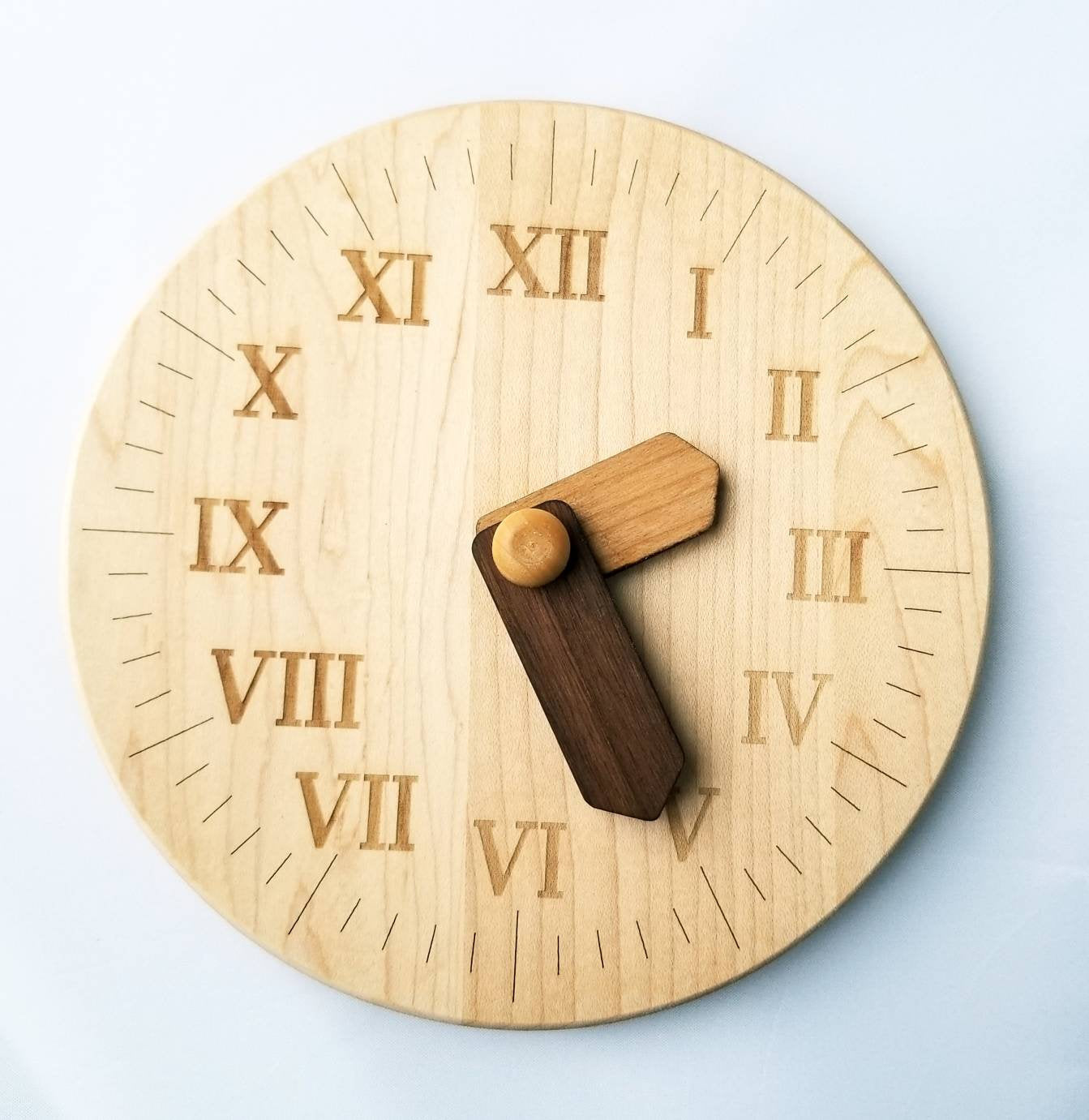 Wooden toy clock with Roman numerals - Learning time - gift for kids