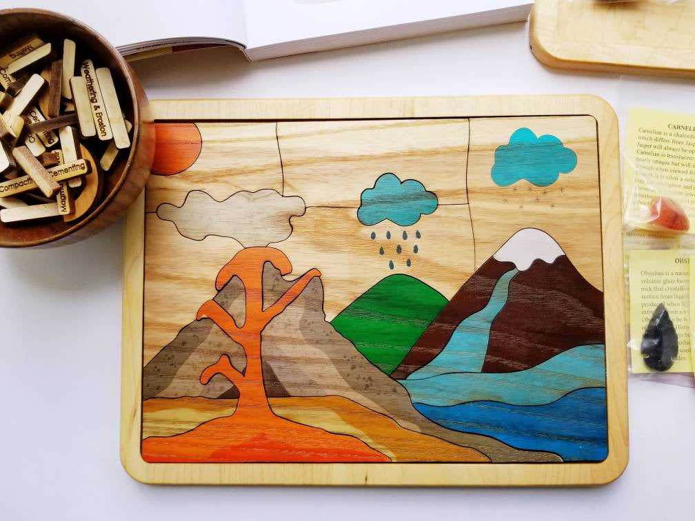 Rock cycle puzzle - Rocks and minerals - Montessori puzzle - Earth science - volcano puzzle - Geography - geology - stem toy - science