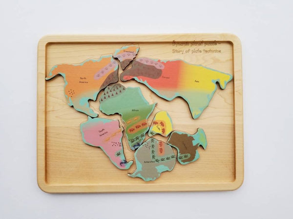 Plate tectonics puzzle - Pangaea puzzle - pangea - continental drift - Montessori toys - Geography gift - stem toys - wooden toys - teacher