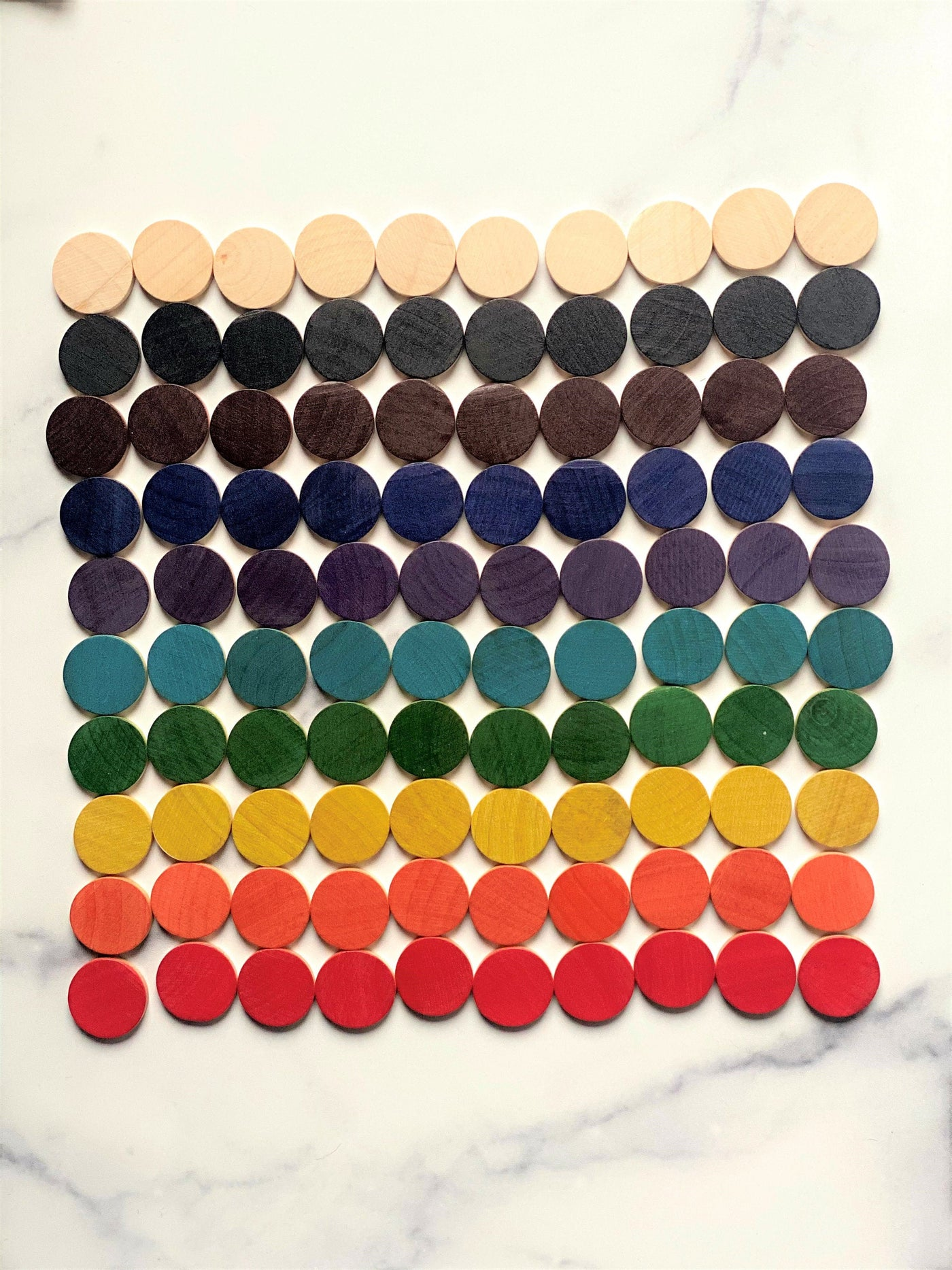 Pattern coins for double sided hundred board and Arithmetic board - Number coins - Pastel coins
