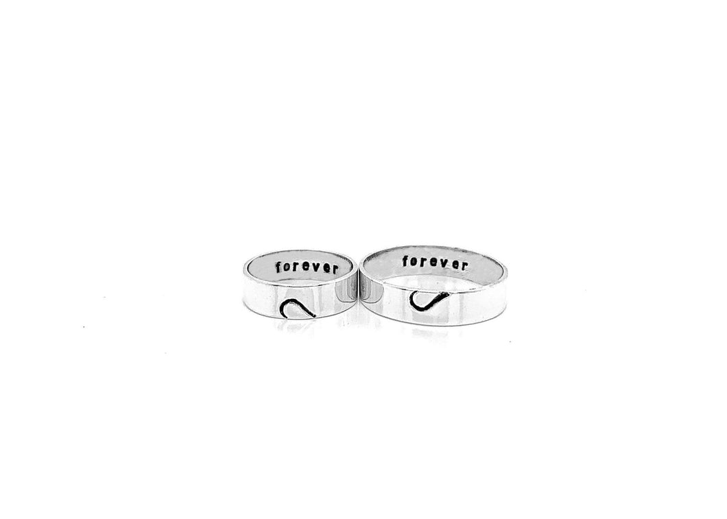 Couples Ring Set - Sterling Silver - Heart