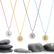 "Load image into Gallery viewer, Build Your Own Letter Charm Necklace - 1/3"" Charm on Cord"