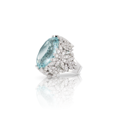 18k White Gold Ghirlanda Ring with Aquamarine and Diamonds